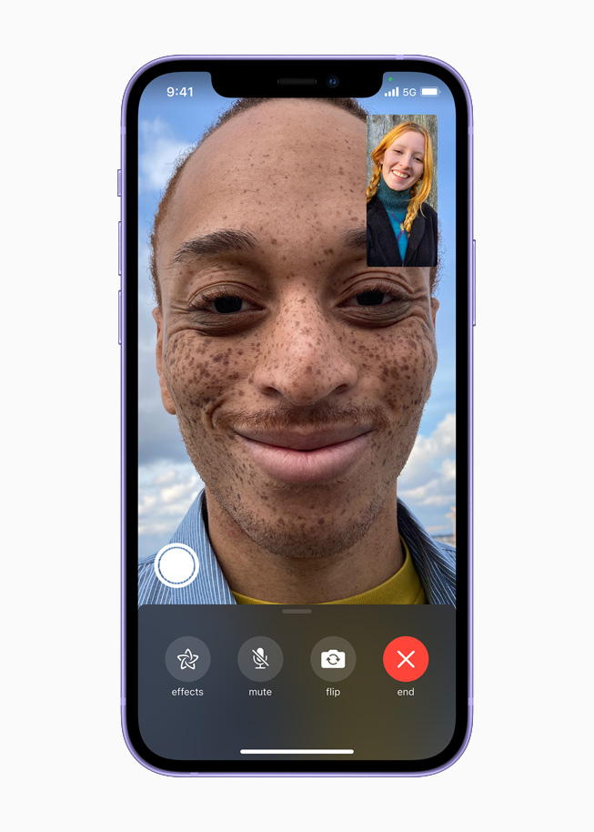 A FaceTime call displayed on iPhone 12.