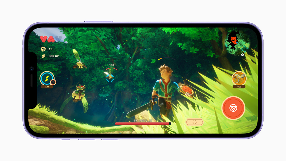 Apple Arcade gameplay displayed on iPhone 12.