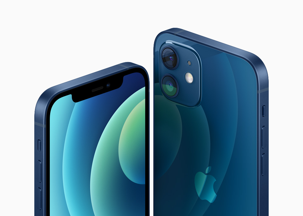 Das iPhone 12 und das iPhone 12 mini mit Aluminiumfinish in Blau.