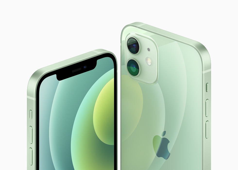 iPhone 12 and iPhone 12 mini in the green aluminum finish.