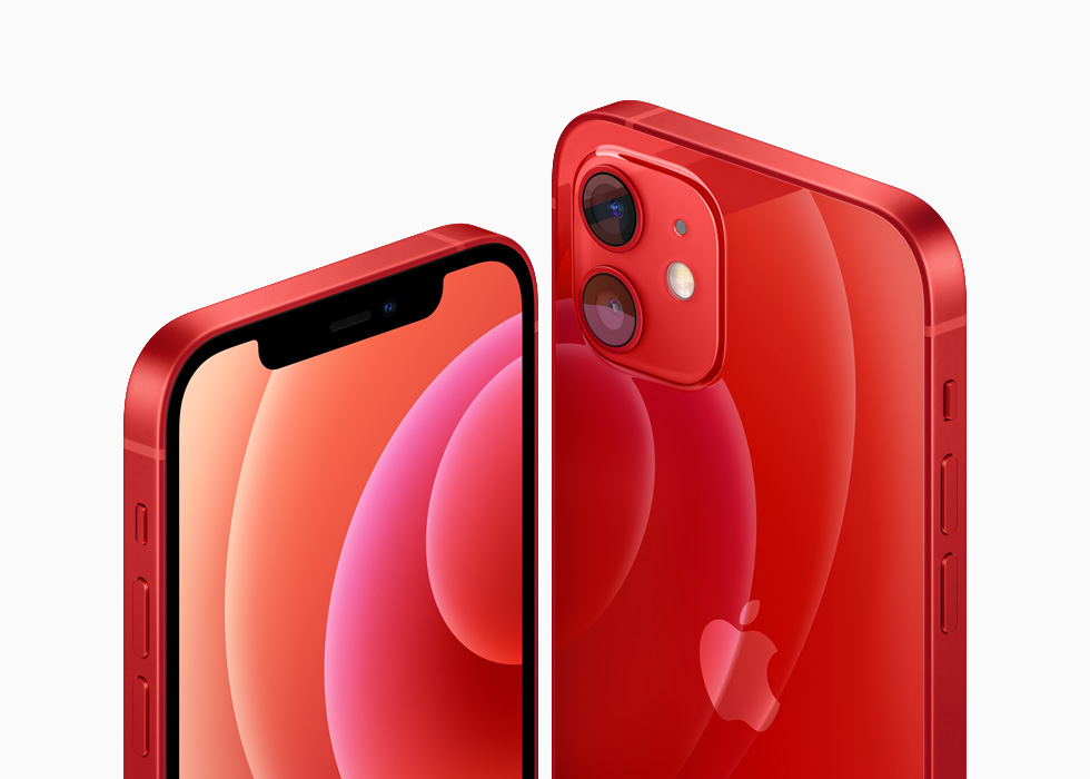 iPhone 12 and iPhone 12 mini in the (PRODUCT)RED aluminium finish.