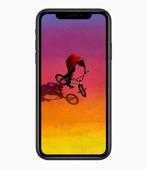 iPhone XR que muestra toda la pantalla Liquid Retina display.