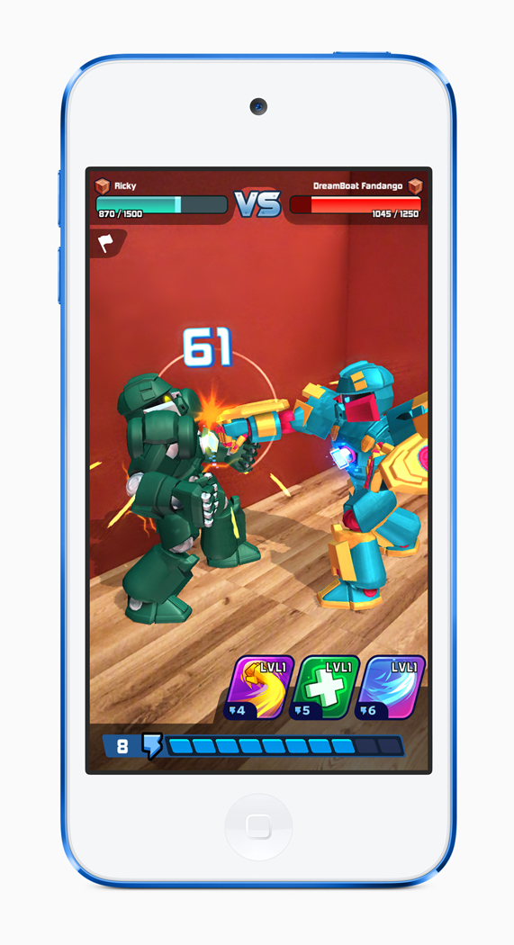 A robot combat game displayed on iPod touch.