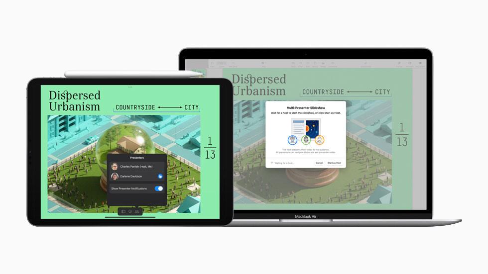 iPad und MacBook Air zeigen die Multi-Präsentationsoptionen in Keynote.