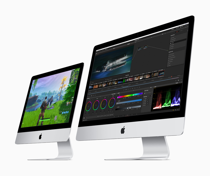 "A 21.5"" iMac and a 27"" iMac side by side."