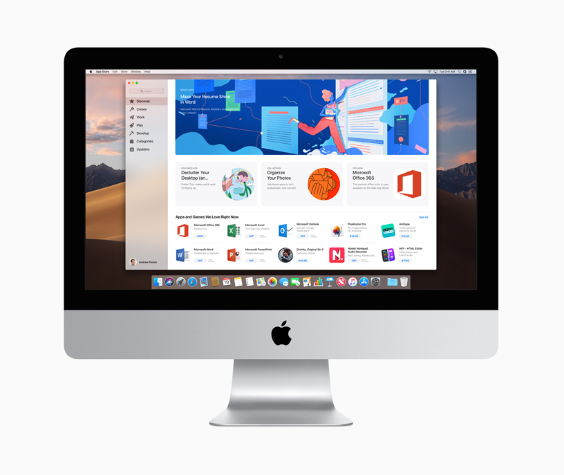 The Mac App Store on iMac.