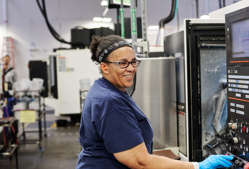 Worker at the Mac Pro manufacturing facility in Austin, Texas.
