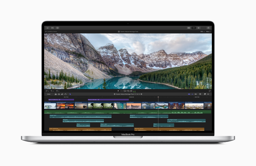 The video editing screen MacBook Pro.