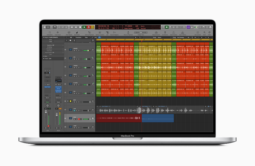 Logic Pro X interface on MacBook Pro.