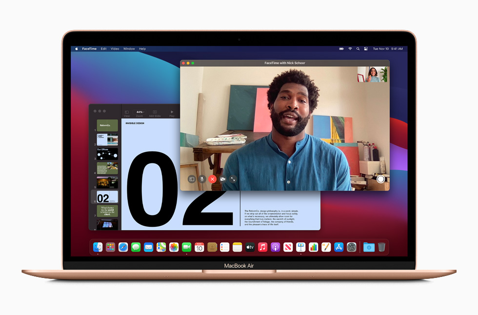 A FaceTime call is displayed on MacBook Pro.