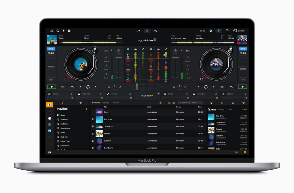The djay Pro app is displayed on MacBook Pro.