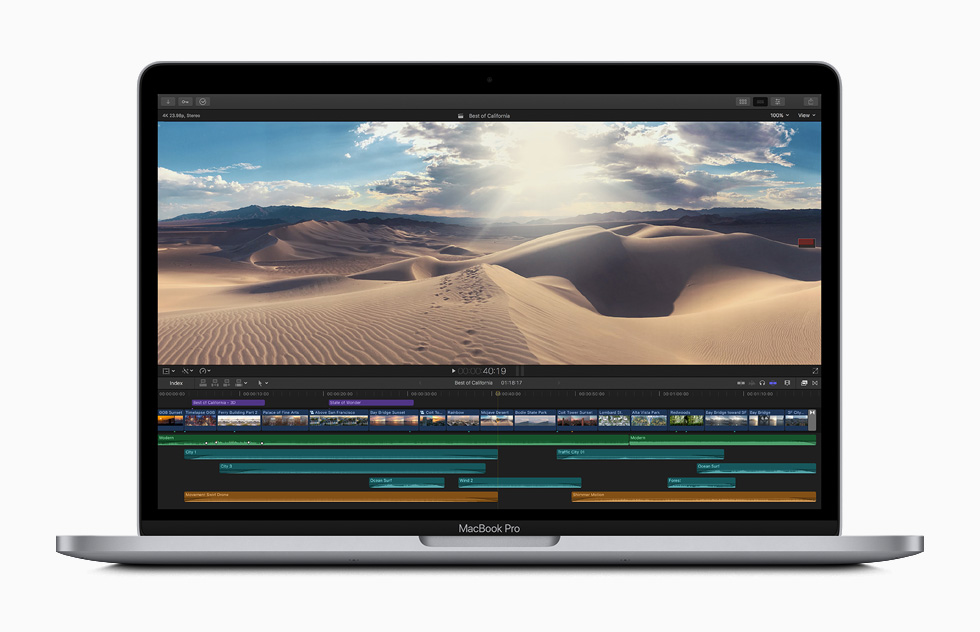 Schermata di editing video in Final Cut Pro X su MacBook Pro.