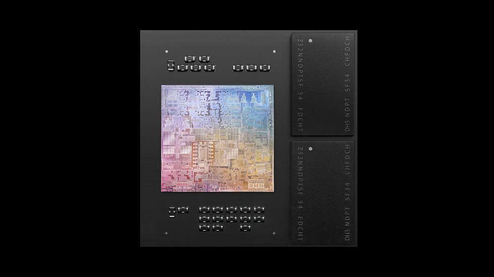 An top view of M1 reveals the system on a chip's intricate circuitry.