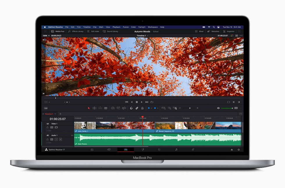 DaVinci Resolve software on MacBook Pro.