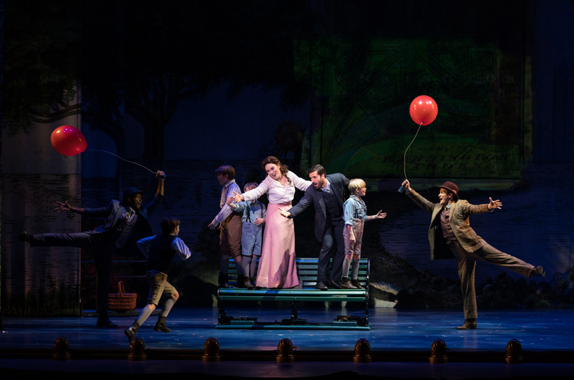 The cast of Finding Neverland on stage.