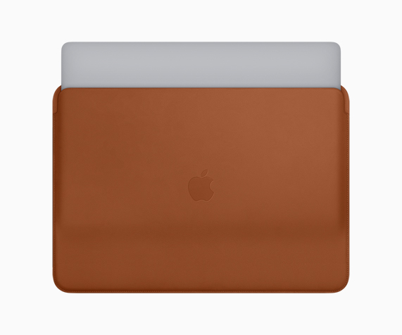 Nuova custodia in pelle color cuoio per MacBook Pro.
