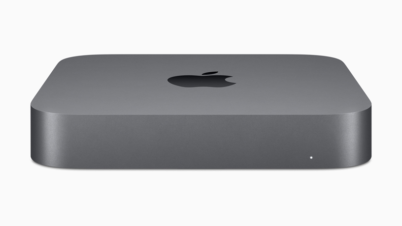 A profile of the new Mac mini in space grey.