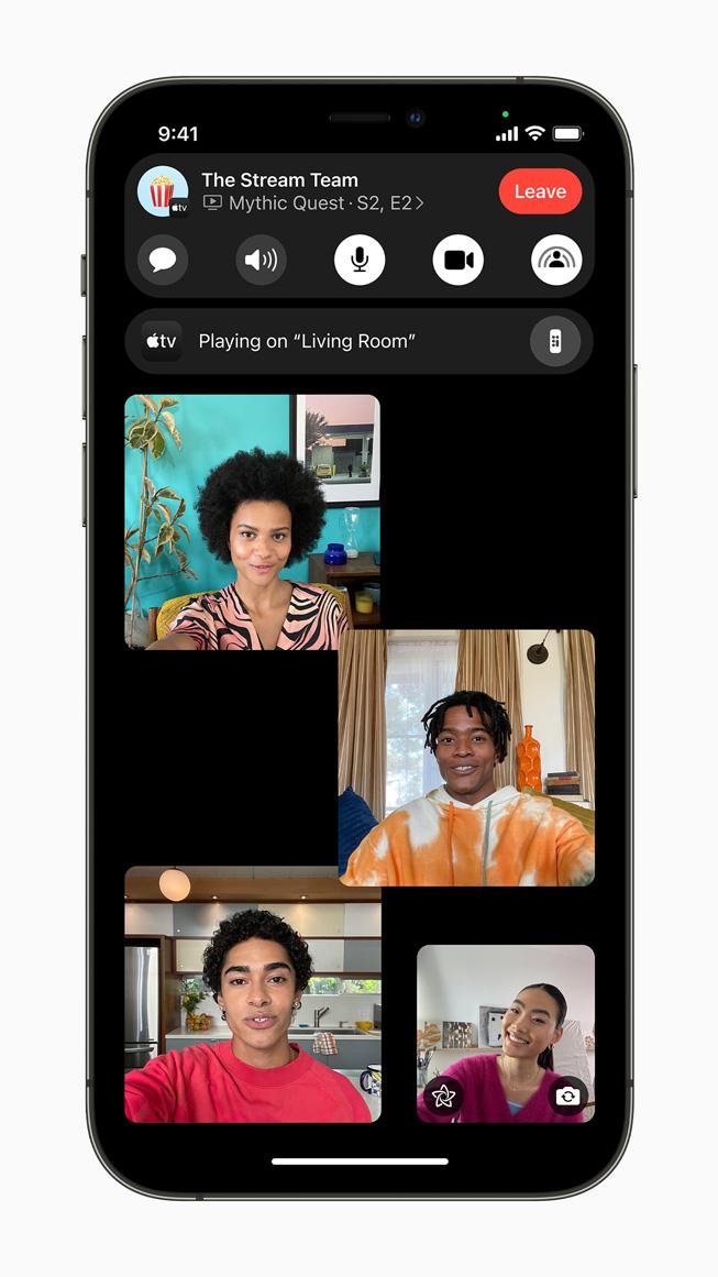 iPhone 12 Pro'da görüntülenen Apple TV SharePlay oturumu sırasında FaceTime araması.