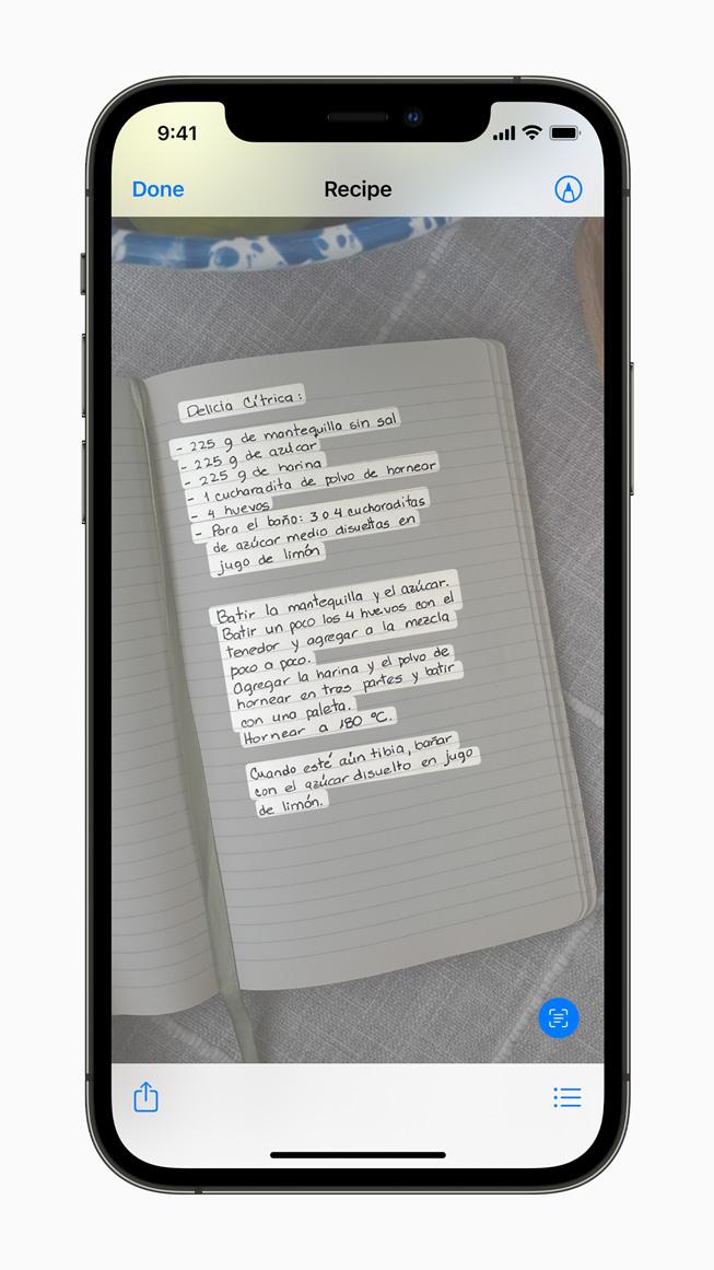 iPhone 12 Pro'da görüntülenen bir resimdeki yeni Canlı Metin özelliği.