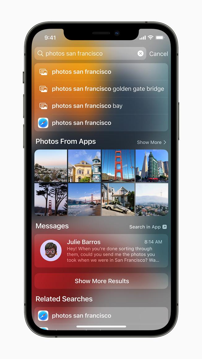 iPhone 12 Pro'da görüntülenen Spotlight deneyimi.