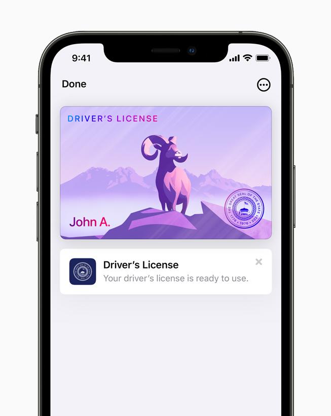 iPhone 12 Pro'da Apple Cüzdan'da görüntülenen dijital durum kimliği.