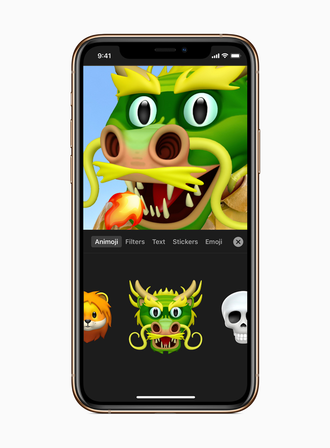 Een Animoji-draak in Clips op iPhone 11 Pro.