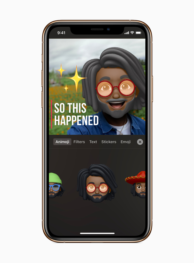 A male Memoji character in Clips on iPhone 11 Pro.