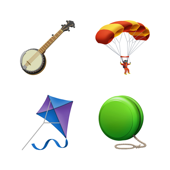 Emoji of banjo, parachute, kite and yo-yo.