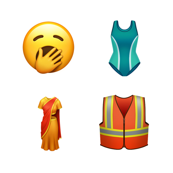 Four emoji including yawning face, one-piece swimsuit.