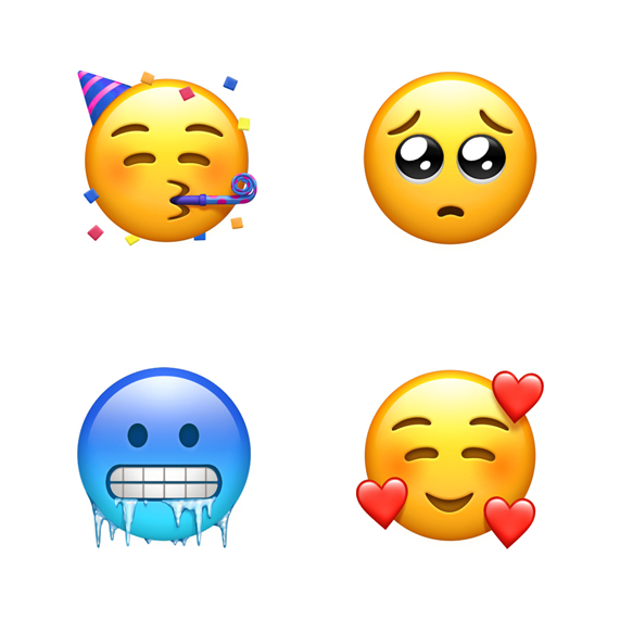 Four emoji clockwise from top left: party face, pleading face, face with hearts and cold face.