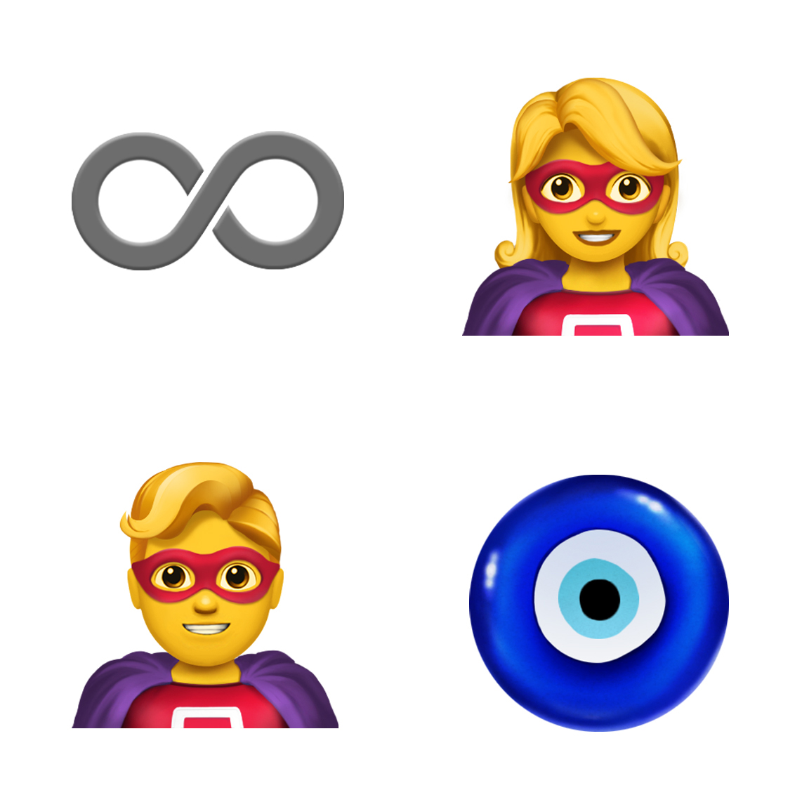 Four emoji clockwise from top left: infinity sign, female superhero, nazar amulet and male superhero.