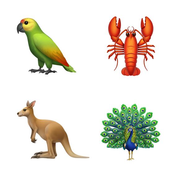 อิโมจิรูปสัตว์ 4 ตัวจากมุมบนซ้ายตามเข็มนาฬิกา ประกอบด้วย นกแก้ว ล็อบสเตอร์ นกยูง และจิงโจ้