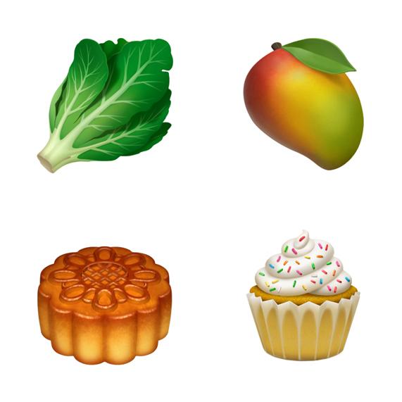 4つの食物の絵文字(左上から時計回りに):レタス、マンゴー、カップケーキ、月餅。