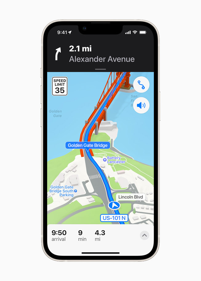 iOS 15's three-dimensional city navigation of San Francisco using Maps on a starlight iPhone 13.