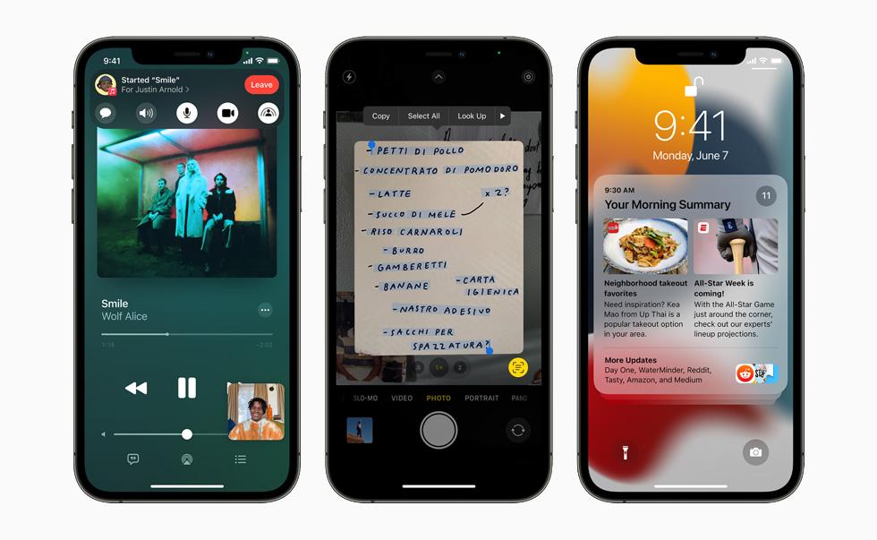 Yeni SharePlay, Canlı Metin ve bildirim özeti özelliklerini gösteren üç iPhone 12 Pro cihazı.