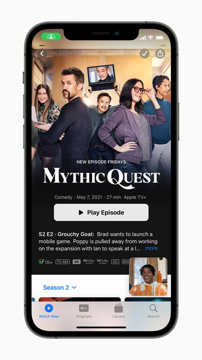 iPhone 12 Pro'da görüntülenen Apple TV ve SharePlay.