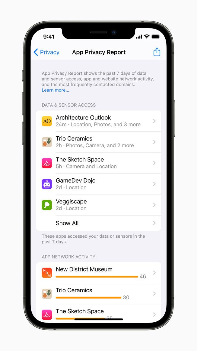 iPhone 12 Pro'da görüntülenen Uygulama Gizlilik Raporu.