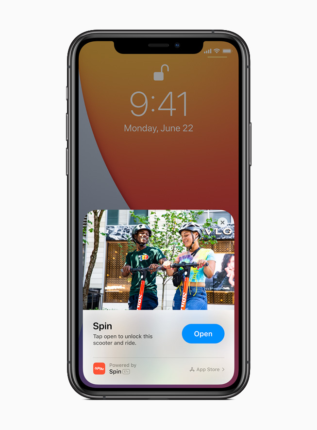 An App Clip from the Spin app displayed on iPhone 11 Pro.
