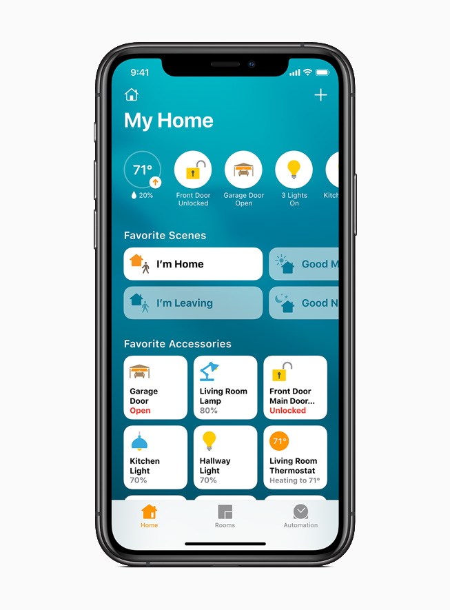 The Home app displayed on iPhone 11 Pro.