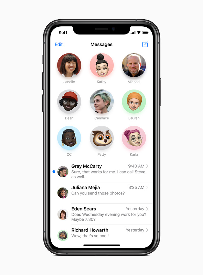 Pinned conversations in Messages displayed on iPhone 11 Pro.