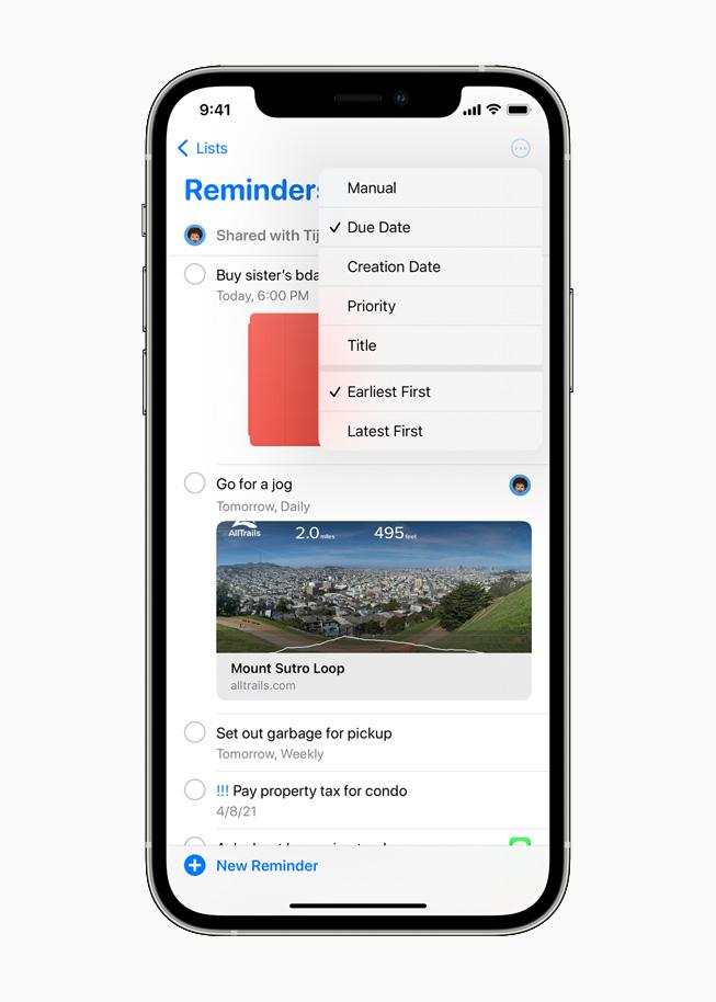 Recordatorios en iOS 14.5 en iPhone 12 Pro.