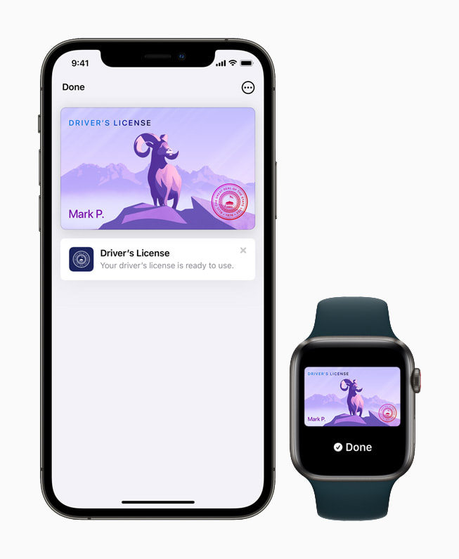 A driver's license and state ID in the Wallet app on iPhone 12 Pro and Apple Watch Series 6.