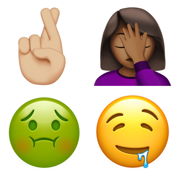 New Drooling Face Fingers Crossed And Palm Are Among Hundreds Of Redesigned Emoji Available On IOS