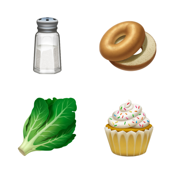 Salt, bagel, lettuce and cupcake emoji.