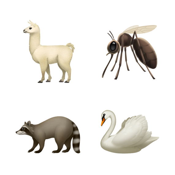 Llama, mosquito, raccoon and swan emoji.