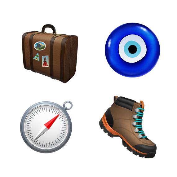 Luggage, hiking boot, compass and nazar amulet.