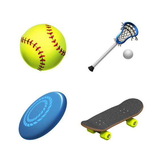 Softball, lacrosse, flying disc and skateboard emoji.