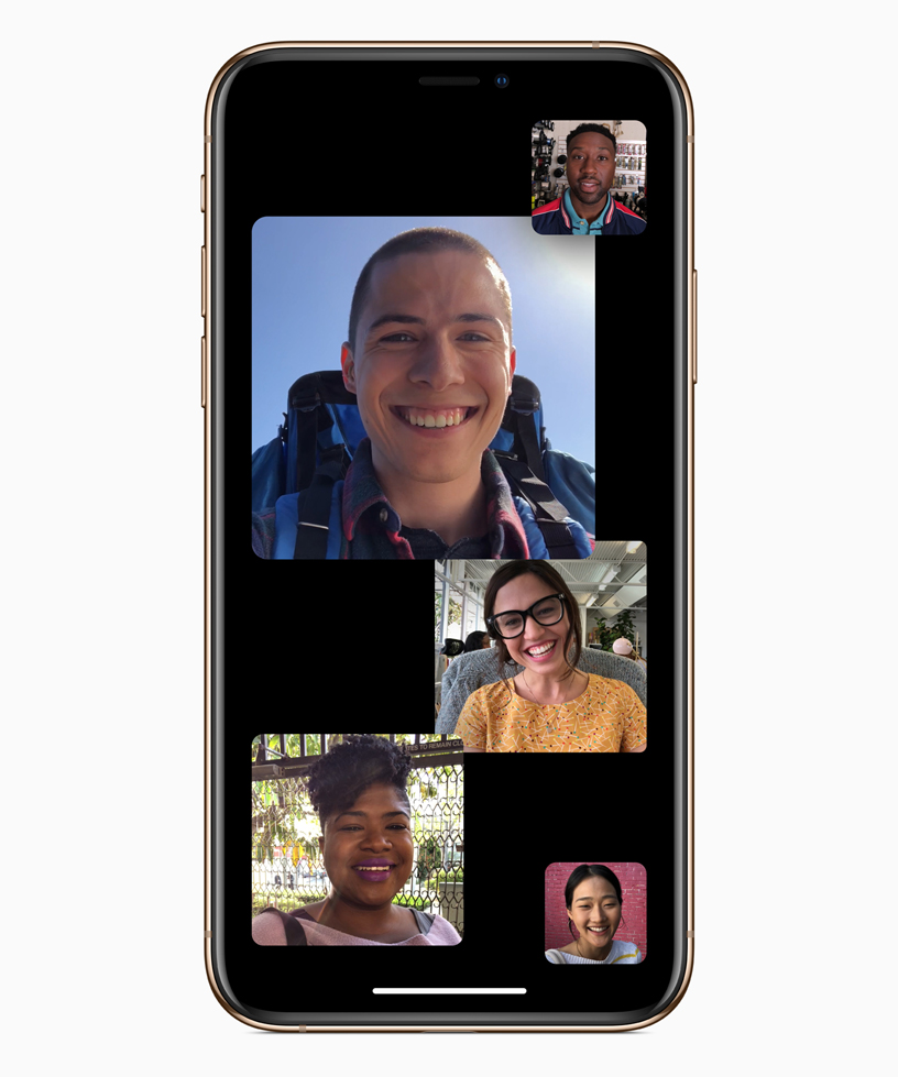 A Group FaceTime screen with five people.