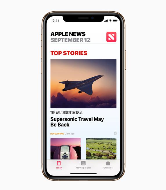 The Apple News homepage
