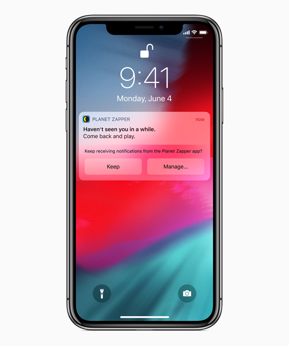 iPhone X screen showing Planet Zapper app notification plus Siri Suggestions to manage notifications for the app.